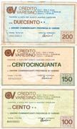 80 -  N.3 MINIASSEGNI CREDITO VARESINO - Monete & Banconote
