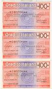 82 -  N.3 MINIASSEGNI CREDITO ITALIANO - Monete & Banconote