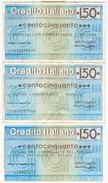 84 -  N.3 MINIASSEGNI CREDITO ITALIANO - Monete & Banconote