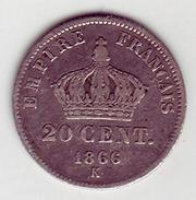 - Napoléon III. 20 Centimes. 1866 K - Argent - - E. 20 Centesimi