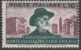 Italia - 1951 - Giuseppe Verdi 10 Lire, Dentellatura 14 X 13 ¾ Pettine Alto ** (Sottoriva) - 6. 1946-.. Repubblica