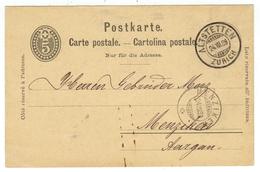 Suisse // Schweiz // Switzerland //  Entier Postaux // Entier Postal Au Départ De Altstetten Le 24.07.1889 - Entiers Postaux