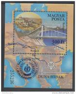 HUNGARY, 2014, MNH, BUDAPEST, BRIDGES, OVERPRINT, S/SHEET - Bridges