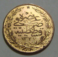 TURKEY OTTOMAN 100 PIASTRES 1327 Year 4, OFFICIAL RESTRIKE OR PROBE, VERY RARE OR UNIQUE, 5.59 Gr. - Türkei