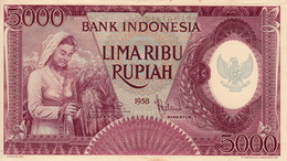 *  INDONESIA 5000 RUPIAH 1958 P-64a [ID526a] - Indonésie