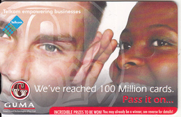 """SOUTH AFRICA(chip) - Couple, GUMA-We""""ve Reached 100 Million Cards, CN : TPBC, Telkom Telecard R20, Exp.date 04/12, Used"""