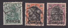 Danzig, Scott #1, 5, 7, Used, Germania Overprinted, Issued 1920 - Danzig