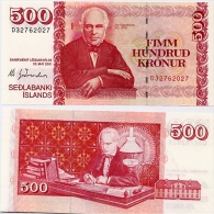 ICELAND      500 Krónur       P-58[d]       L. 22.5.2001       UNC   [sign. 66] - IJsland
