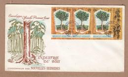 New Hebrides FDC 1969 Timber Industries - Strip Of 3 Kadri Tree