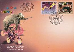 YUGOSLAVIA FDC 3076-3077,circus
