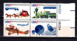 1975 USA -200 Years Of Post Service In USA - Coaches, Trains, Boing 747, Satelite - Block Of 4 Numbe- Paper - MNH** Hj16 - Unused Stamps