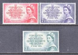 AUSTRALIA  259-61  *  Q.E. II  CORONATION - 1952-65 Elizabeth II : Pre-Decimals