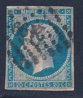 France, Scott # 15 Used Napoleon Lll, 1854, Thin - 1853-1860 Napoleon III