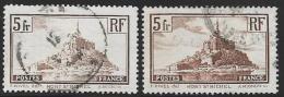 France, Scott # 249-50 Used Mont-Saint-Michel, 1930-1 - France