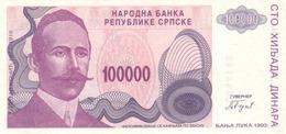 BOSNIA (SERBIAN REPUBLIC) 100000 DINARA 1993 P-151 UNC - Bosnia And Herzegovina