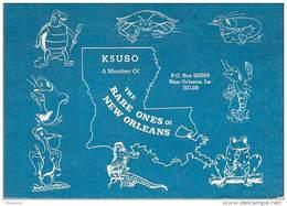 Amateur Radio QSL- K5USO - New Orleans, LA -USA- 1968 - 2 Scans - Radio Amateur