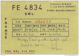 Amateur Radio Contact SWL Card From FE4834 In France - 1977 - Radio Amateur