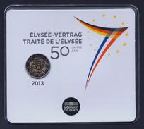 """2013 FRANCIA """"50° ANNIVERSARIO TRATTATO ELISEO"""" 2 EURO COMMEMORATIVO FDC (COINCARD) - France"""