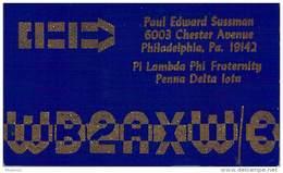 Amateur Radio QSL - WB2AXW/3 - Philadelphia, PA -USA- 1966 - 2 Scans - Radio Amateur
