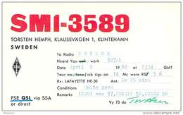 Amateur Radio Contact SWL Card - SM1-3589 In Sweden - 1968 - 2 Scans - Radio Amateur