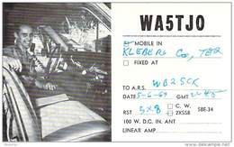 Amateur Radio QSL - WA5TJO Mobile In Kleberg County TX -USA- 1969 - 2 Scans - Radio Amateur