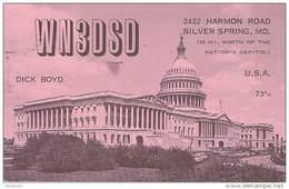 Amateur Radio QSL Card - WN3DSD - Silver Spring, MD -USA- 1965 - 2 Scans (bright Orange Card) - Radio Amateur
