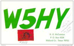 Amateur Radio QSL - W5HY/M Mobile In Glass Cock & Sterling Counties TX -USA- 1974 - 2 Scans - Radio Amateur