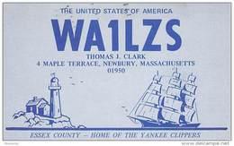 Amateur Radio QSL - WA1LZS - Newbury, MA -USA- 1974 - 2 Scans - Radio Amateur
