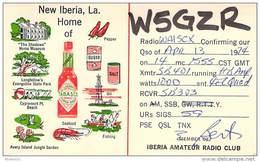 Amateur Radio QSL - W5GZR - New Iberia, LA -USA- 1974 - 2 Scans - Radio Amateur