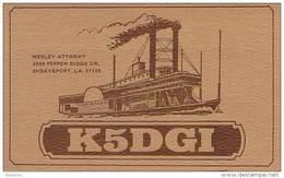 Amateur Radio QSL - K5DGI - Shreveport, LA -USA- 1974 - 2 Scans - Radio Amateur