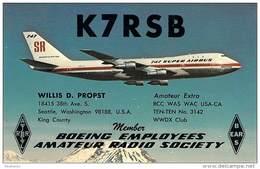 Amateur Radio QSL - K7RSB - Seattle, WA -USA- 1975 - 2 Scans (Boeing Employee) - Radio Amateur