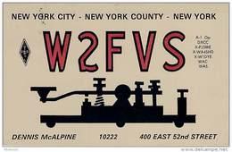 Amateur Radio QSL - W2FVS - New York City, NY -USA- 1974 - 2 Scans - Radio Amateur
