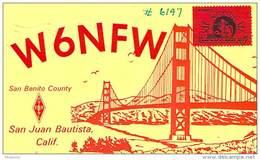 Amateur Radio QSL- W6NFW - San Juan Bautista, CA -USA- 1969 - 2 Scans - Radio Amateur