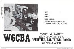 Amateur Radio QSL- W6CBA - Whittier, CA -USA- 1968 - 2 Scans