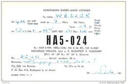 Amateur Radio Contact SWL Card From HA5-024 In Hungary - 1968