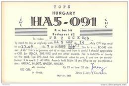 Amateur Radio Contact SWL Card  HA5-091 In Hungary - 1967 - 2 Scans