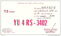 Amateur Radio Contact SWL Card From YU4RS-3402 In Yugoslavia - 1974