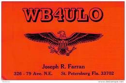 Amateur Radio QSL - WB4ULO - St. Petersburg, FL -USA- 1974 - 2 Scans - Radio Amateur