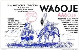 Amateur Radio QSL - AA6OJE / WA6OJE - Project City, CA -1976 - 2 Scans