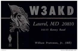 Amateur Radio QSL - W3AKD - Laurel, MD -USA- 1977 - 2 Scans