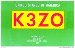 Amateur Radio QSL - K3ZO - Washington, DC -USA- 1977 - 2 Scans - Radio Amateur