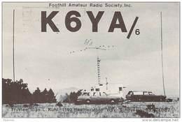 Amateur Radio QSL - K6YA/6 - Foothill Amateur Radio Society - Sunnyvale, CA -USA- 1974 On 14MHz - Radio Amateur