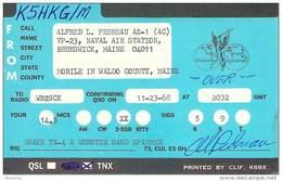 Amateur Radio QSL Card - K5HKG/M Naval Air Station Brunswick, ME -USA- 1968 - 2 Scans