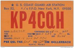 Amateur Radio QSL Card -  KP4CQH US Coast Guard Air Station Puerto Rico - 1966 - With Stamp - Radio Amateur
