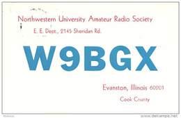 Amateur Radio QSL - W9BGX - Northwestern Univ. Radio Society - Evanston, IL - 1968 - 2 Scans