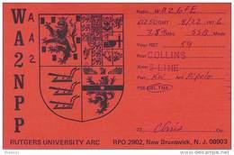 Amateur Radio QSL - AA2NPP / WA2NPP Rutgers Univ. Radio Club - New Brunswick, NJ - 1976 - Radio Amateur