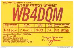 Amateur Radio QSL - WB4DQM - Western KY Univ Radio Club Bowling Green, KY -USA- 1974