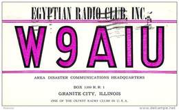 Amateur Radio QSL - W9AIU - Egyptian Radio Club - Granite City, IL -USA- 1974 - 2 Scans