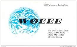 Amateur Radio QSL - W0EEE - Univ Of Missouri Radio Club - Rolla, MO -USA- 1974 - 2 Scans - Radio Amateur