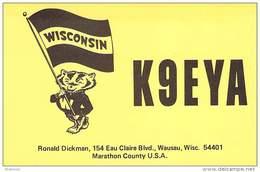 Amateur Radio QSL - K9EYA - Wausau, WI -USA- 1974 - 2 Scans